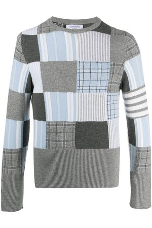 Thom Browne Men Sweatshirts - Patchwork knit jumper - Grey