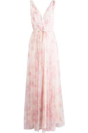 Marchesa Notte Women Printed Dresses - Floral-print V-neck gown