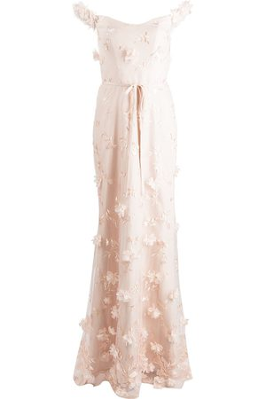 Marchesa Notte Women Printed Dresses - Floral-embroidered floor-length gown - Neutrals
