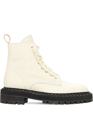 Proenza Schouler Women Boots - 30mm Lug Grained Leather Combat Boots
