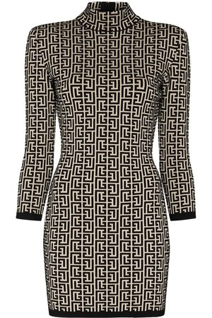 Balmain Monogram-jacquard knitted mini dress