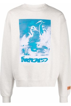 Heron Preston Graphic-print organic cotton sweatshirt - Neutrals
