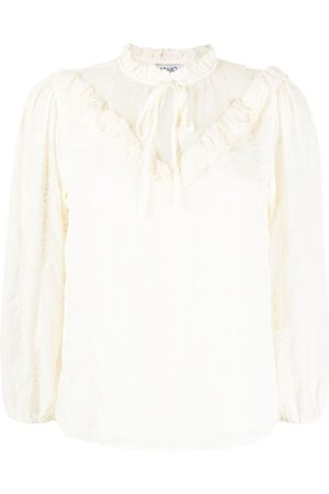 LIU JO Ruffle-trim cotton blouse - Neutrals