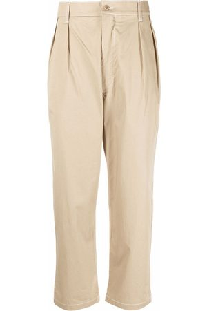 Maison Kitsuné Pleated cropped tapered trousers - Neutrals