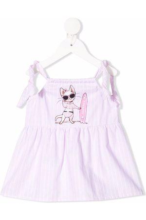 La Perla Baby Casual Dresses - Logo graphic print striped dress