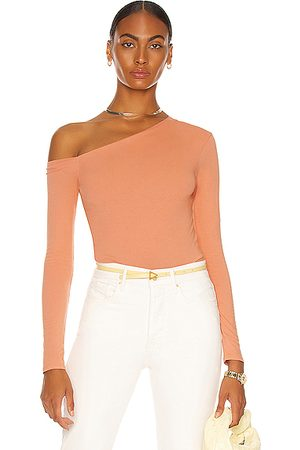 ENZA COSTA Women Long sleeves - Angled Exposed Shoulder Long Sleeve Top in Peach