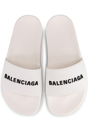 Balenciaga Women High Heels - Rubber Logo Pool Slides in