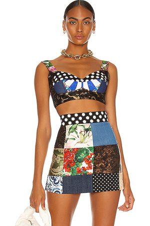 Dolce & Gabbana Women Crop Tops - Brocade Jacquard Bustier Crop Top in Black