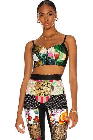 Dolce & Gabbana Women Crop Tops - Brocade Jacquard Bustier Crop Top in Green