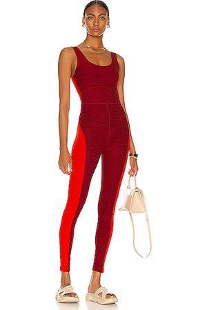 TWENTY MONTREAL Women Skirts & Dresses - Caiman Crocodile 3D Activewear Jumpsuit in Wine
