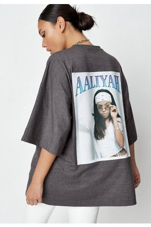 Missguided Women T-shirts - Tall Charcoal Aaliyah Graphic Drop Shoulder T Shirt