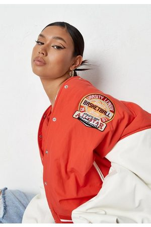 Missguided Women Leather Jackets - Contrast Faux Leather Oversized Varsity Jacket