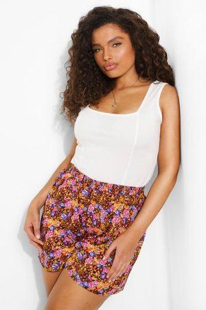 Boohoo Womens Plus Floral Leopard Flippy Short - - 12