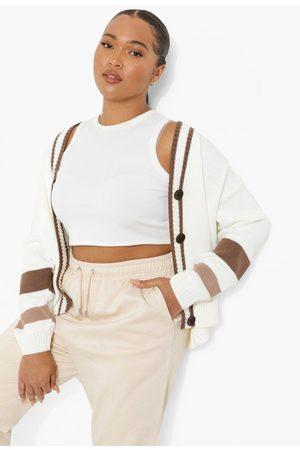 Boohoo Womens Plus Stripe Colour Block Cardigan - - 12