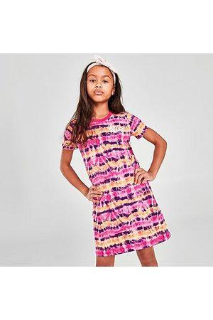 Nike Girls' Sportswear Tie-Dye T-Shirt Dress in Pink/Fireberry Size Small 100% Cotton/Knit