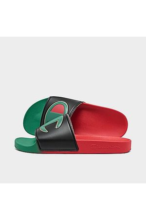 Champion Big Kids' IPO Split Slide Sandals in Red/Rasta Size 4.0