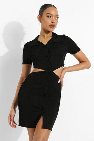 Boohoo Womens Neon Cut Out Collared Mini Dress - - 2