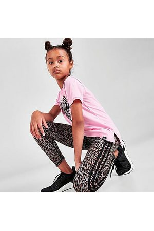 adidas Girls' Leopard 3-Stripes Leggings in Animal Print/
