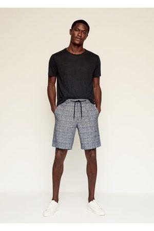 MANGO Checked linen Bermuda shorts