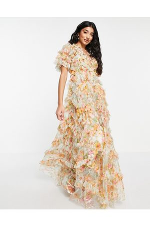 Needle & Thread Sunset Garden maxi ruffle dress in multi floral-Blues
