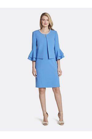 Tahari ASL Women Jackets - Faux Pearl Ruffled Jacket Dress Skirt Suit Lapis Size: 10 Crepe