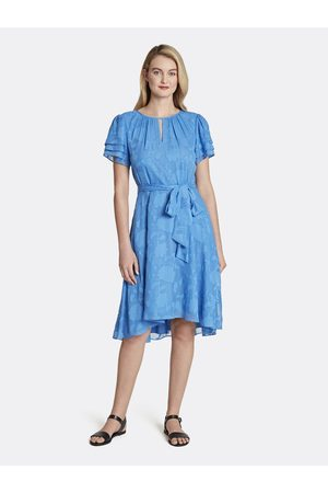 Tahari ASL Women Printed Dresses - Floral Chiffon Hi-Low Dress Lapis Size: 10