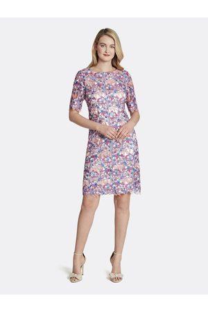 Tahari ASL Women Printed Dresses - Metallic Lace Sheath Dress Lapis Lace Floral Size: 10 Charmeuse