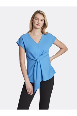 Tahari ASL Women Tops - Crepe Twist-Front Top Lapis Large