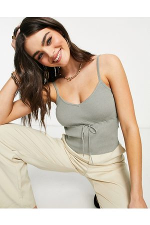 Fashion Union Knitted cami crop top in rib with bow detail set