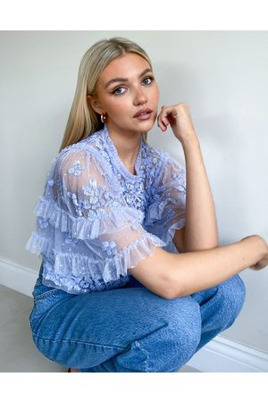 Needle & Thread Aurelia embellished top in dusty blue - part of a set-Blues