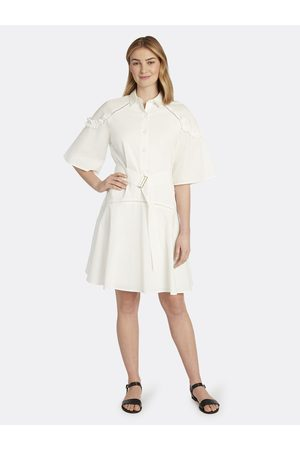 Tahari ASL Women Casual Dresses - Cotton Poplin Ruffle Shirtdress Ivory Size: 10