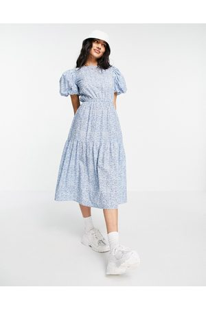 Influence Puff sleeve cotton poplin midi dress in floral print-Blues