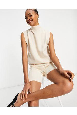 Fashion Union Women Turtlenecks - Knit roll neck sleeveless top with detail shoulders