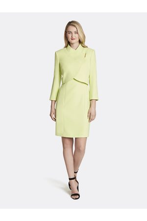 Tahari ASL Women Asymmetrical Dresses - Double Weave Wrap Collar Jacket Dress Skirt Suit Key Lime Asymmetric Size: 10