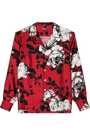 Dolce & Gabbana Men Long sleeves - Silk Twill Shirt in Red
