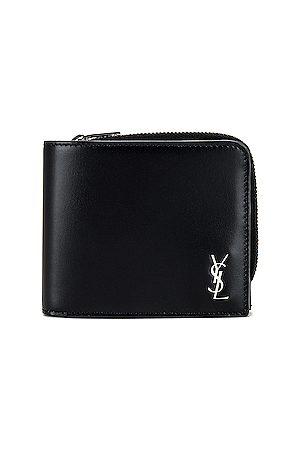 Saint Laurent Zip Wallet in Silver in