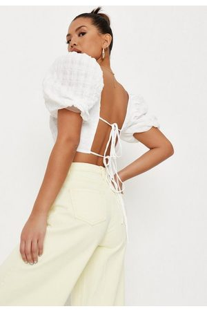 Missguided Sheer Puff Sleeve Open Back Crop Top