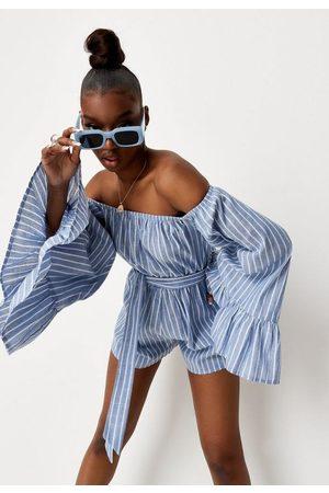 Missguided Women T-shirts - Stripe Trumpet Sleeve Bardot Romper