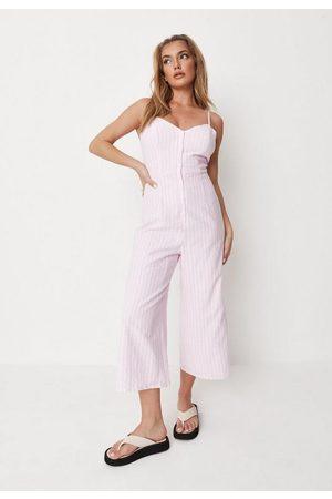 Missguided Women T-shirts - Stripe Linen Look Cami Culotte Romper