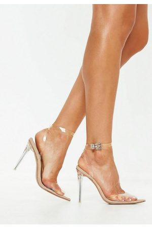 Missguided Women High Heels - Nude Clear Ankle Strap Pumps