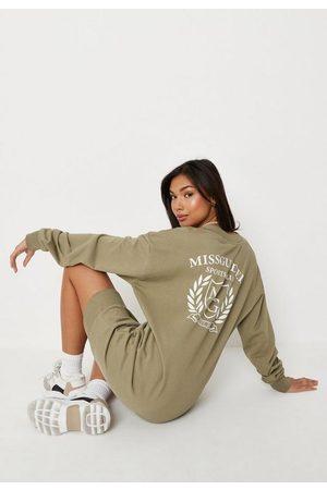 Missguided Women Skirts & Dresses - Tall Khaki Sport Cub V Neck Sweatshirt Dress