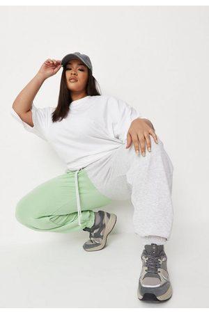 Missguided Women Sweatpants - Plus Size Lime Colorblock 90S Joggers