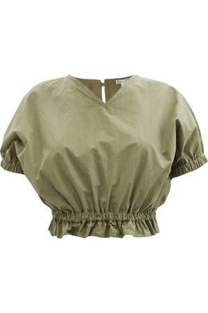 BELIZE Maisy V-neck Cotton-poplin Cropped Top - Womens