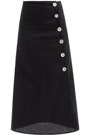 BELIZE Rosa Buttoned Linen Midi Skirt - Womens