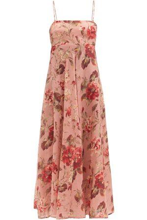 ZIMMERMANN Women Printed Dresses - Cassia Musk Floral-print Linen Midi Dress - Womens - Print