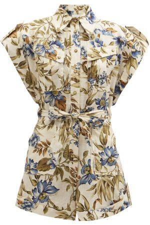 ZIMMERMANN Aliane Floral-print Linen Jumpsuit - Womens - Print