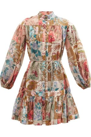 ZIMMERMANN Women Party Dresses - Cassia Patchwork-floral Cotton Mini Dress - Womens - Multi
