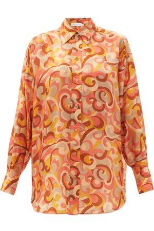 ZIMMERMANN Mae Swirl-print Silk-twill Blouse - Womens - Print