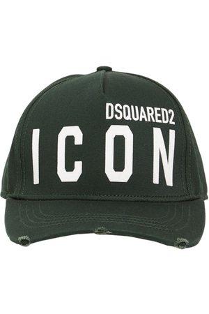Dsquared2 Men Caps - Icon Flocked Cotton Gabardine Cap