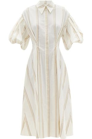 Ssone Balanced Striped Cotton-blend Midi Dress - Womens - Ivory Multi